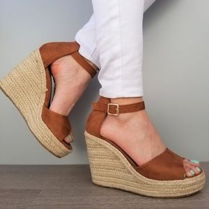 Shoes - Tan Suede Espadrille Wedge Heel Sandals-E